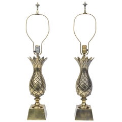 Captivating Pair of Mid-Century Modernist Brass Pineapple Table Lamps