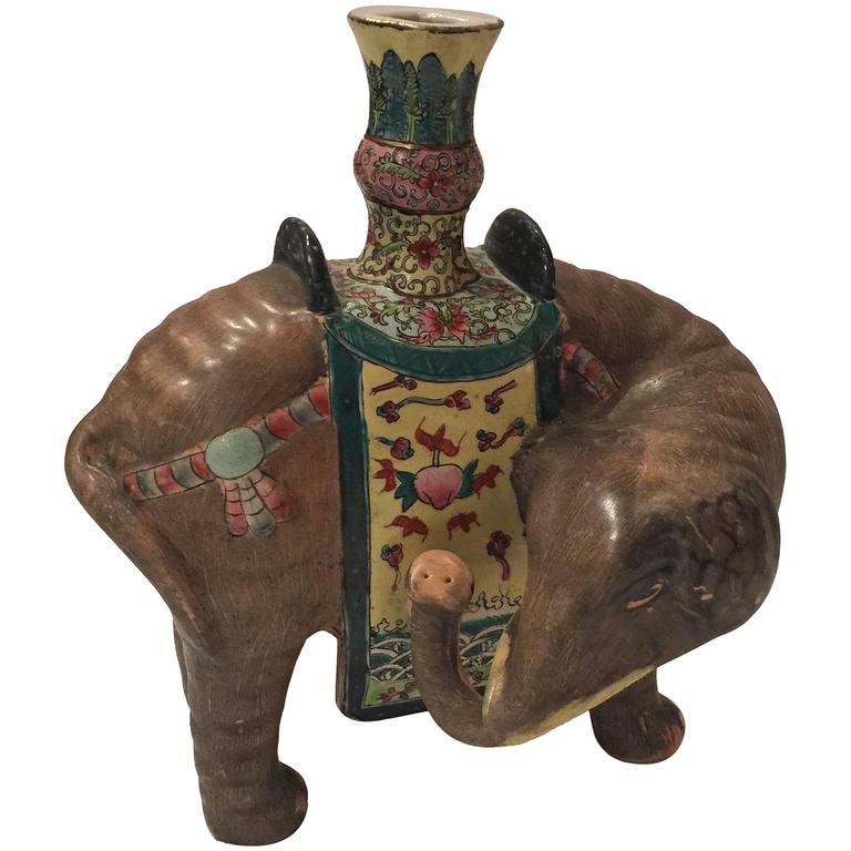 Chinese Elephant Candleholder For Sale