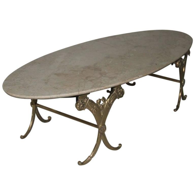 Elegant Refined Low Oval Table Mid-Century Italian Design