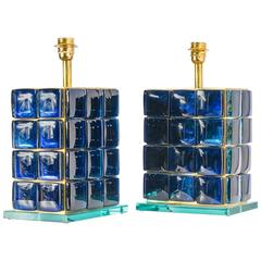 Pair of Table Lamps in Blue Glass, Italy