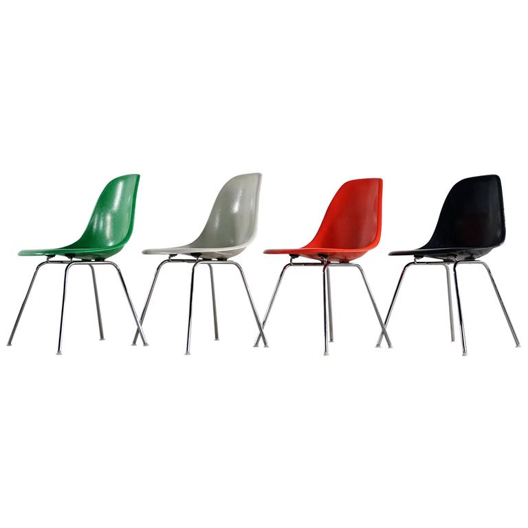 Charles Eames, Rare Set of Four Siede Chairs, Fehlbaum Prod, Vitra Etc For Sale