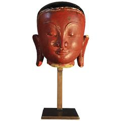 14th Century Sandstone with Red and Black Lacquer Lohan Head, Pagan Period,Burma