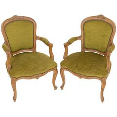 Pair of Pretty French Walnut Open Armchairs