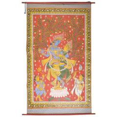 Large Hand-Painted, Rolled Painting of Radha-Krishna, the Divine Couple, India