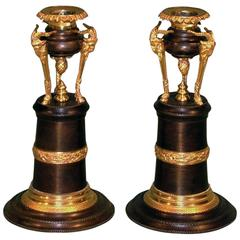 Pair of Regency Bronze and Ormolu and Ram's Head Candlesticks
