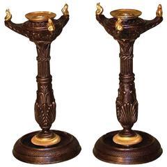 Regency period bronze and ormolu gothic candlesticks