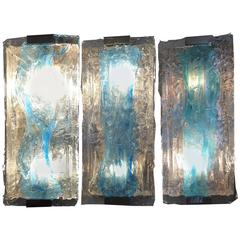 Amazing Trio of Murano Sconces by Mazzega, 1980s