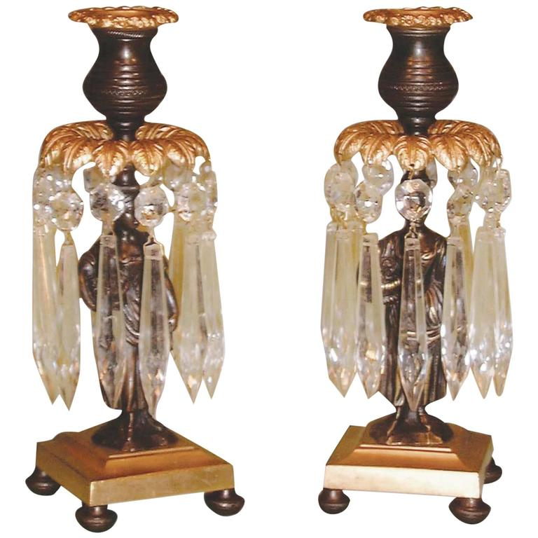 19th Century bronze and ormolu flower lady lustre candlesticks