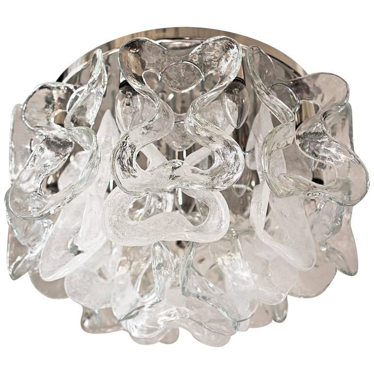 "Large Kalmar ""Catena"" Murano Glass Flushmount"
