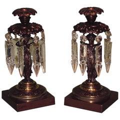 Regency bronze and ormolu classical lady lustre candlesticks