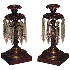 Regency bronze and ormolu classical lady lustre candlesticks
