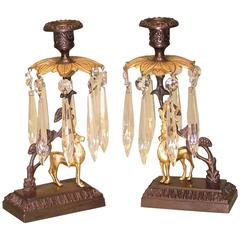 19th Century bronze and ormolu stag lustre candlesticks