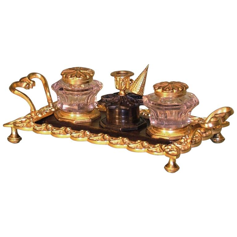 19th Century bronze and ormolu pentray in the gothic style