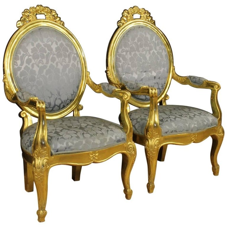 20th Century Pair of Italian Golden Armchairs with Floral Fabric For Sale