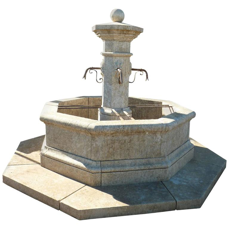 Provence Central Octagonal Fountain in French Natural Limestone with Base