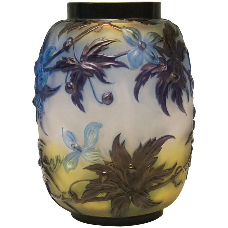 Soufflé Vase Gallé Clematis Flowers Leaves Emile Galle Nancy Art Nouveau 1925