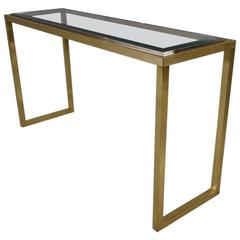 Willy Rizzo Console Table, Brass and Chrome, 1970s, Italian