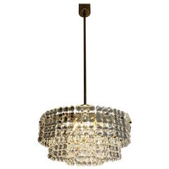 Large Chandelier by Kinkeldey Geometric Grip Crystal and Brass, 1960s