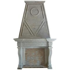Superb Mantel with Trumeau of the Napoleon III Style Carved in French Limestone