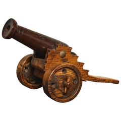 Oak and Mahogany Model Cannon