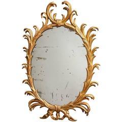 Fine 18th Century English Giltwood Oval Mirror