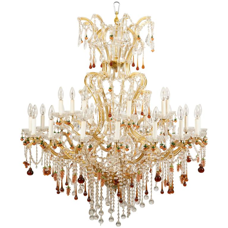 Crystal Venetian Chandeliers: Spectacular Twenty-Five-Light Venetian Crystal Chandelier