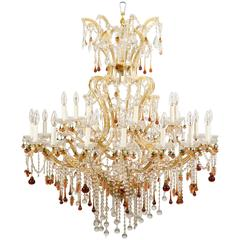 Spectacular Twenty-Five-Light Venetian Crystal Chandelier with Fruit