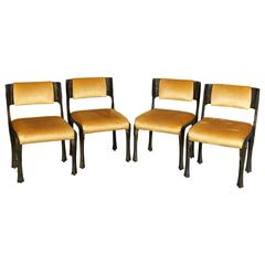 Set of Four Brutalist Bronze Resin Side Chairs by Paul Evans