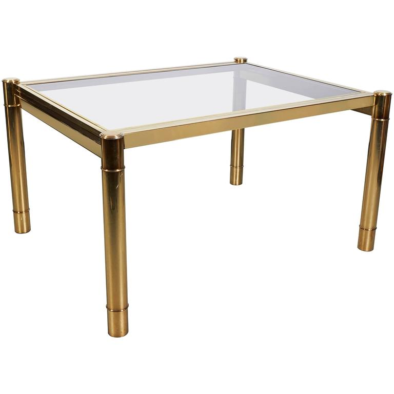 Milo Baughman Gold Lacquered And Glass Extending Dining Table For