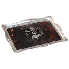 English Art Deco Faux Tortoiseshell & Sterling Silver Tray