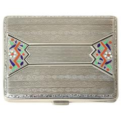 Continental Art Deco Sterling Silver and Champleve Enamel Cigarette Case