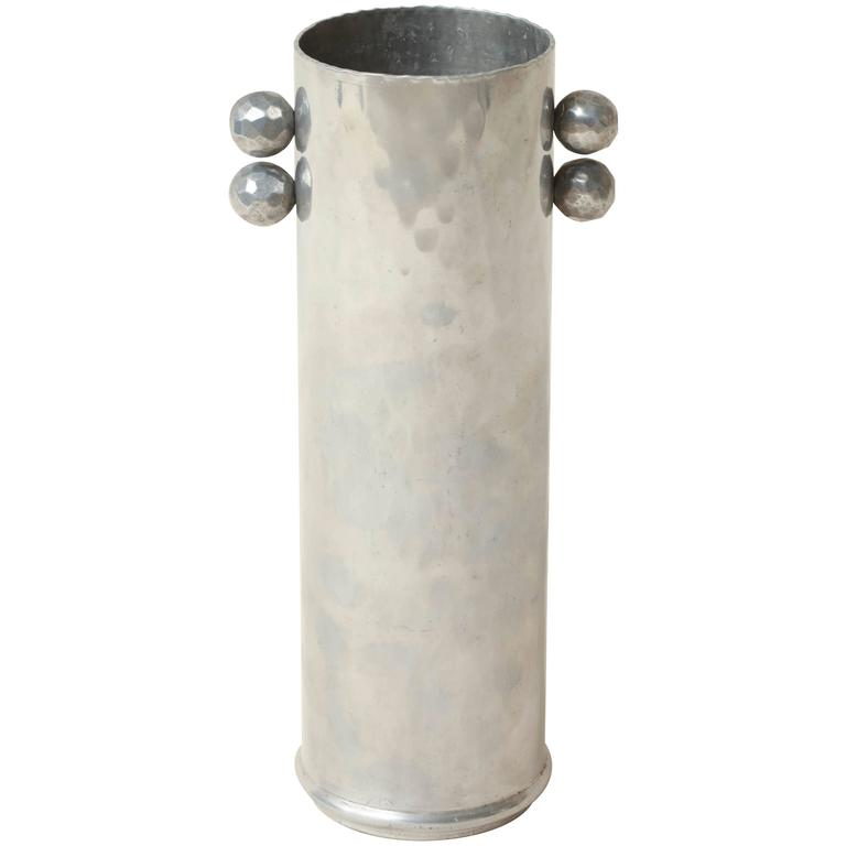 Frederic Buehner-Wanner American Art Deco Hand Wrought Aluminum Vase