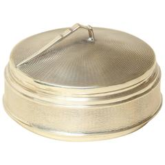 Beddoes & Company English Art Deco Round Silver Covered Box