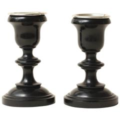 English Art Deco Pair of Ebony and Sterling Silver Candlesticks