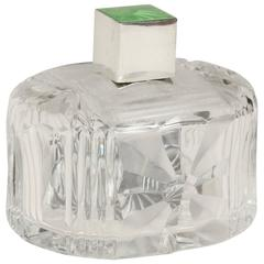 Albert Carter English Art Deco Crystal and Sterling Silver Scent Bottle