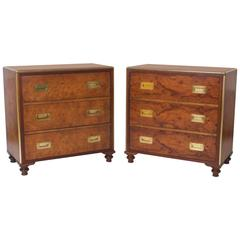 Handsome Pair of Mid-Century Three-Drawer Chests