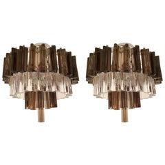 Pair of 1970s Murano Glass Prism Flush Pendants
