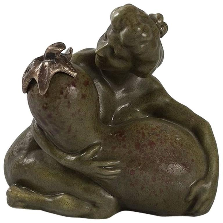 French Art Nouveau Ceramic Inkwell by Carabin