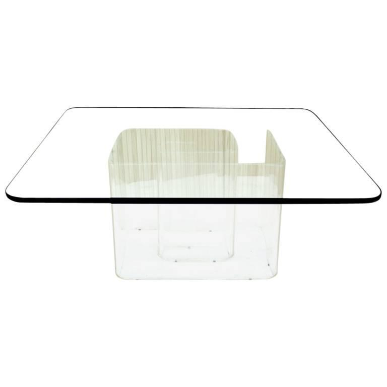 Lucite Snail Base Square Thick Glass Top Coffee Table
