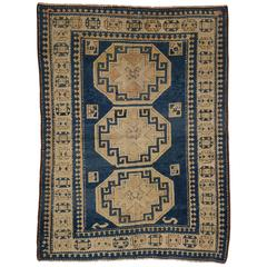 Vintage Turkish Blue Kazak Rug with Modern Tribal Style