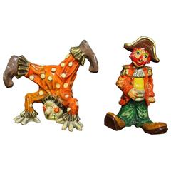 Vintage Pair of Papier Maché Clown Sculptures by Jeanne Valentine, circa 1960
