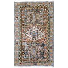 Persian Heriz Throw Rug with Light Blue Accents