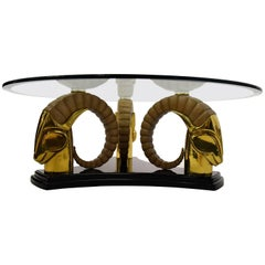 Hollywood Regency Brass and Glass Coffee Table