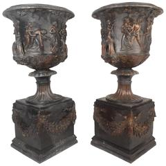 Pair of Medici Style Bronze Urns
