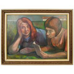 Deco Portrait By La Rocca Painting