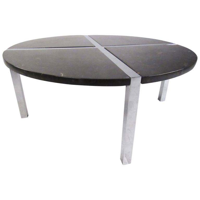 Contemporary Modern Chrome And Marble Circular Coffee Table For Sale At 1stdibs