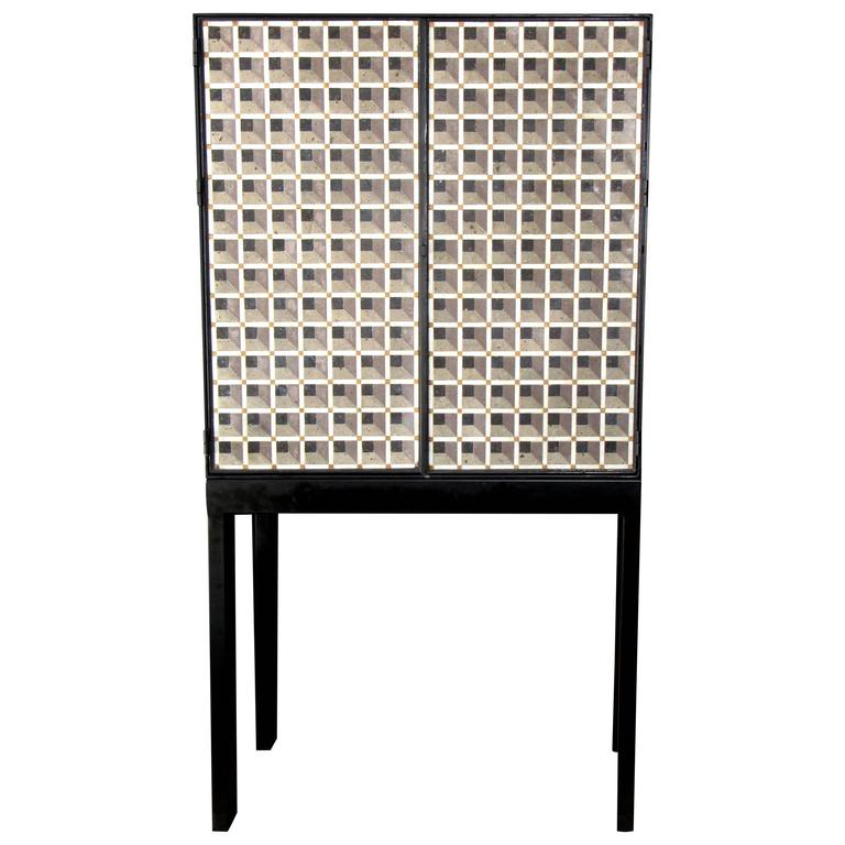 Artisan Crafted Iron and Stone Tile Three Dimensional Illusion Cabinet on Stand For Sale