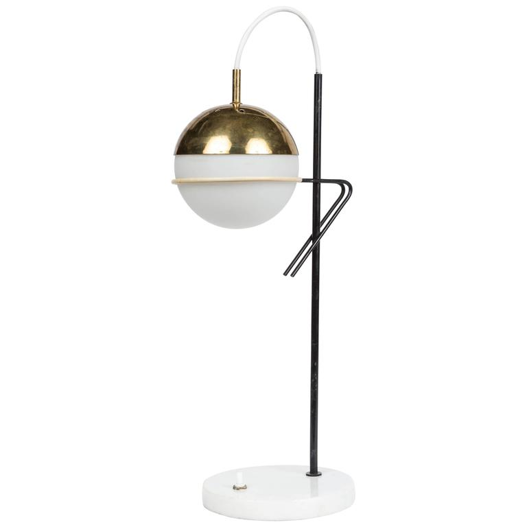 1960s Stilux Milano Glass and Marble Table Lamp For Sale