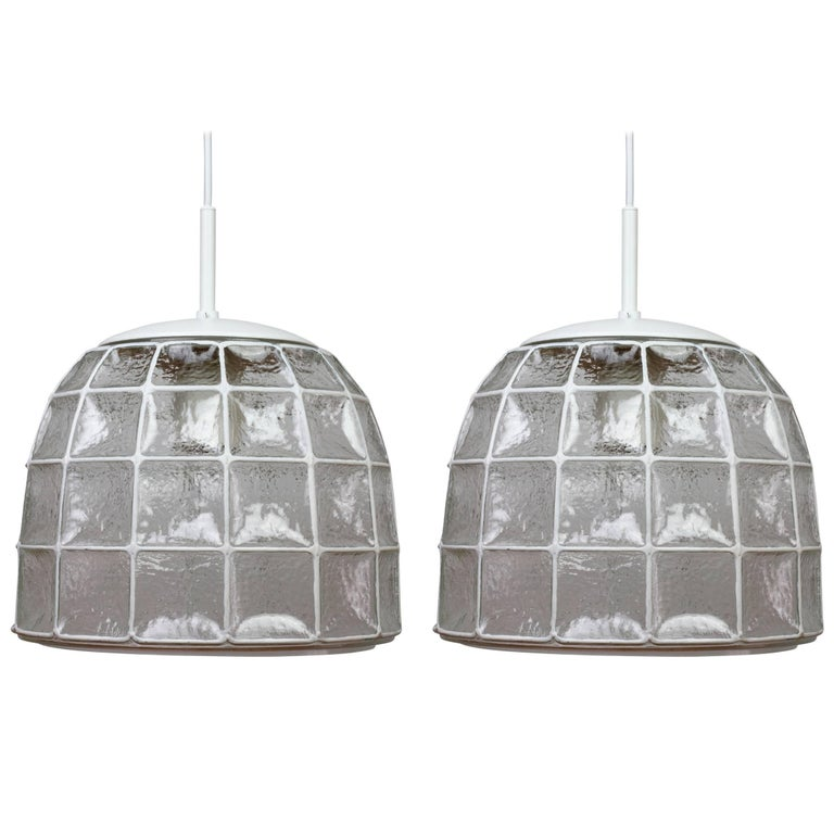One of a Pair 1960s White Iron & Glass Honeycomb Bell Pendant Lights by Limburg For Sale