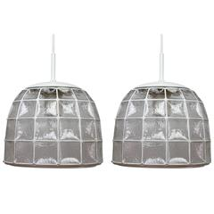 One of a Pair 1960s White Iron & Glass Honeycomb Bell Pendant Lights by Limburg